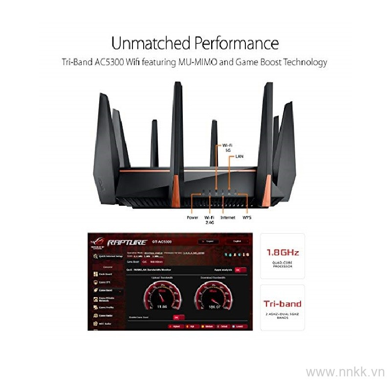 Router Wifi Asus ROG Rapture GT-AC5300 (Gaming Router),3 băng tần, hỗ trợ AiMesh